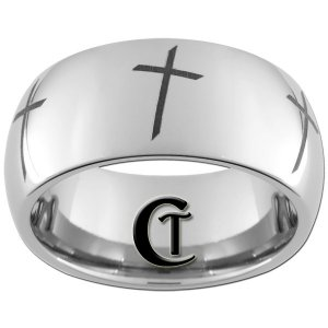 10mm Tungsten Carbide Religious Cross Laser Design Ring Sizes 4-17