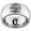 Tungsten Mens Ring 10mm Fire Department Shield Design Sizes 4-17