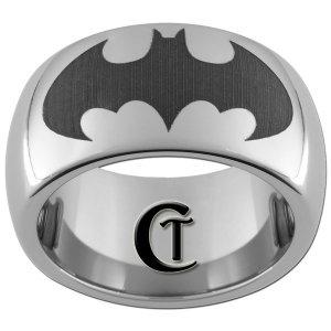 10mm Tungsten Carbide Batman Laser Design Ring Sizes 4-17