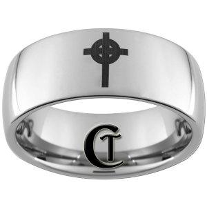 10mm Tungsten Carbide Cross Laser Design Ring Sizes 4-17