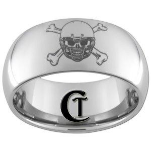 10mm Tungsten Carbide Football Laser Design Ring Sizes 4-17