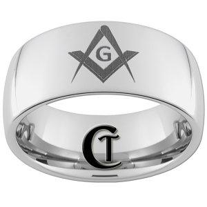10mm Tungsten Carbide Freemason Square Compass Ring Sizes 4-17