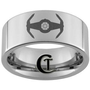 10mm Pipe Tungsten Carbide Laser Star Wars Tie Interceptor Design Ring Sizes 4-17