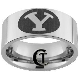 Tungsen Ring Mens 10mm Pipe Collegiate Sports Design Sizes 4-17