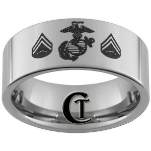 Tungsen Carbide Ring 10mm Pipe Marines Corporal Design Sizes 4-17