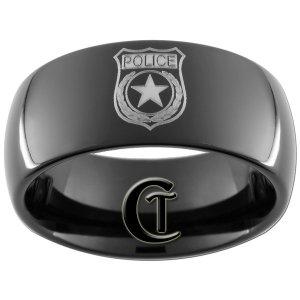 9mm Black Dome Tungsten Carbide Police Badge Design Ring Sizes 5-15