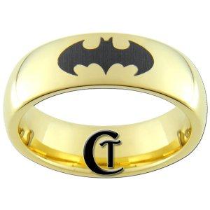 7mm Tungsten Carbide Domed Gold Black Lasered Batman Design Ring Sizes 5-15
