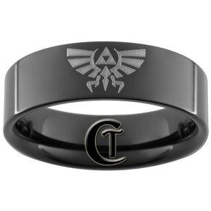 7mm Tungsten Carbide Pipe Legend of Zelda Skyward Sword Crest Design Ring Sizes 5-15