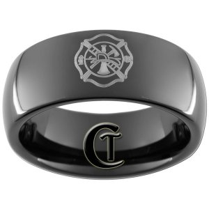 9mm Black Dome Tungsten Carbide Fireman Shield Design Ring Sizes 5-15