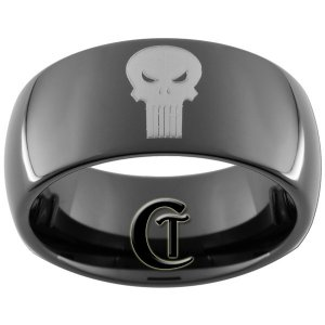 9mm Black Dome Tungsten Carbide Marvel Comics Punisher Design Ring Sizes 5-15