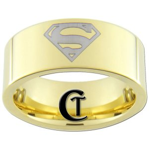 9mm Tungsten Carbide Pipe Superman Design Ring Sizes 5-15