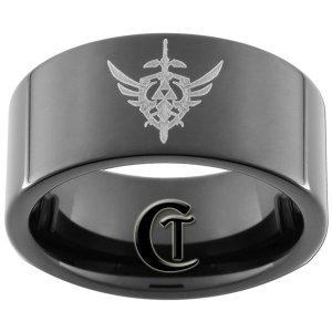 9mm Tungsten Carbide Pipe Legend of Zelda Design Ring Sizes 5-15