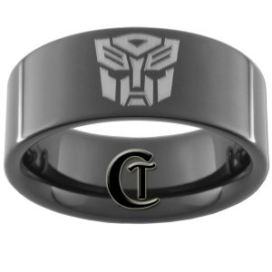 9mm Black Pipe Tungsten Carbide Transformers Autobots Ring Sizes 5-15