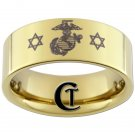 9mm Tungsten Carbide Pipe Marines Jewish Design Ring Sizes 5-15