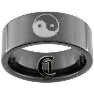 Tungsten Carbide 9mm Yin Yang Design Ring Sizes 5-15