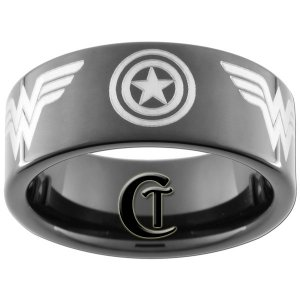 9mm Black Pipe Tungsten Carbide Captain America and Wonder Woman Ring Sizes 5-15
