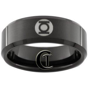 8mm Black Tungsten Carbide Band Beveled Green Lantern Ring Sizes 5-15