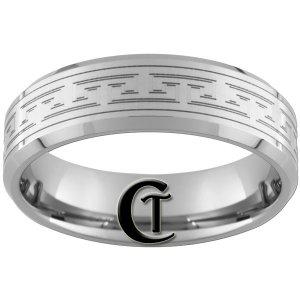 8mm Beveled Tungsten Carbide Custom Design Band Ring Sizes 4-17