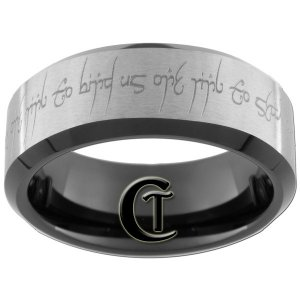 Tungsten Carbide 8mm Black Beveled Lord of the Rings Love Poem Design Ring Sizes 5-15