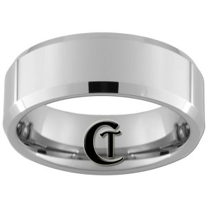 8mm Beveled Tungsten Carbide Band Ring Sizes 4-17
