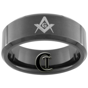 8mm Black Beveled Tungsten Carbide Freemason Masonic Ring Sizes 5-15
