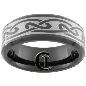 8mm Black Bevel Tungsten Carbide Celtic Design Ring Sizes 5-15