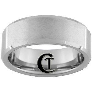 8mm Beveled Tungsten Carbide Satin Finish Band Ring Sizes 4-17