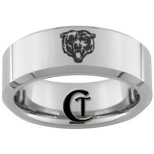 8mm Beveled Tungsten Carbide Band Bear Ring Sizes 4-17
