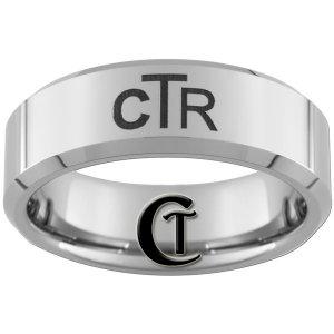 Tungsten Carbide 8mm Beveled CTR Design Ring Sizes 4-17