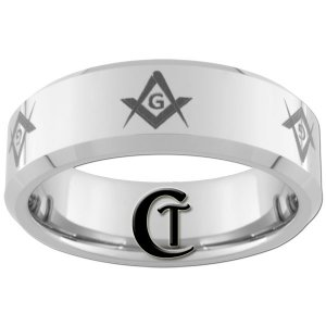 8mm Beveled Tungsten Carbide Freemason Masonic Ring Sizes 4-17