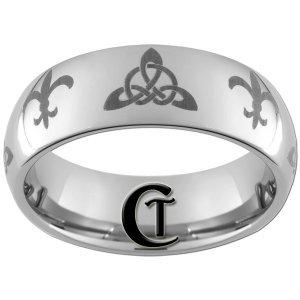 8mm Tungsten Carbide Domed Celtic Triangle Fleur De Lis Design Ring Sizes 4-17