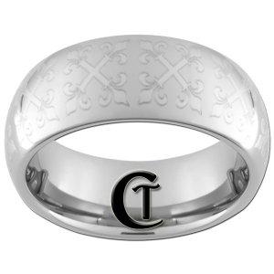 8mm Dome Tungsten Carbide Greek Laser Design Ring Sizes 4-17