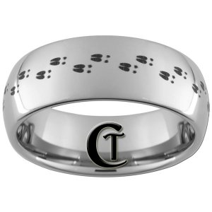 8mm Tungsten Carbide Dome Band Deer Tracks Ring Polished Finish Sizes 4-17