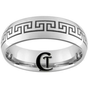 8mm Dome Tungsten Carbide Black Greek Key Laser Design Ring Sizes 4-17