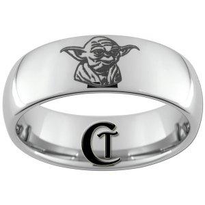 8mm Dome Tungsten Carbide Laser Star Wars Yoda Design Ring Sizes 4-17