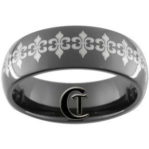 8mm Black Tungsten Carbide Band Dome Fleur De Lis Lasered Ring Sizes 5-15