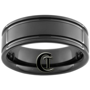 8mm Black Tungsten Carbide Band Pipe 2 Grooved Ring Sizes 5-15