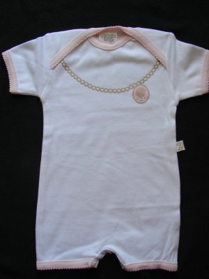 Z LAyette Infant Girls White Cameo Shorts Coverall 0/3 months