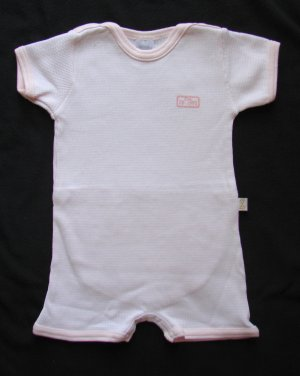 Z Layette Girls Pink White Stripe Coverall 6 months NEW