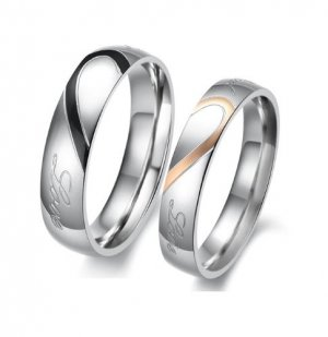 His and Her Heart Shape Matching Titanium Steel Lovers Rings