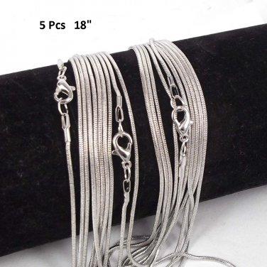 "(5 Pcs Set) Gorgeous 1.2 mm Style Snake Chains 18"""