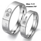 "(2 pcs)His & Her CZ ""Love"" Lock and Key Promise Rings"