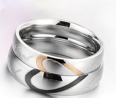 (Set of 2 Pcs)His & Her Heart Shape Matching Real Love Rings