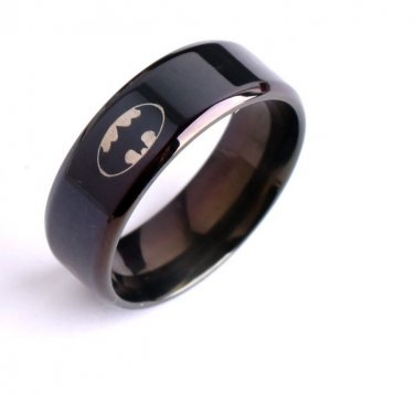 New Classic Black Bat man moive 316L Stainless Steel Finger Ring 8 MM size 6-12