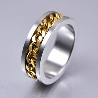 Classic Gold Plate Curb Chain Center Spinner Stainless Steel Band Ring 8mm