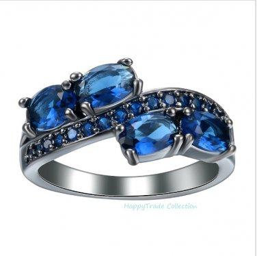 New 18K Black Gold Plate Princess Cut Luxury Micro Paved Blue CZ Wedding Rings SZ 7,8 or 9