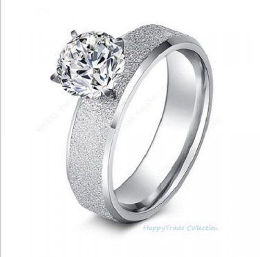 Jewelry High Quality 316L Stainless Steel Sequin with CZ Rhinestone Ring SZ 7-11