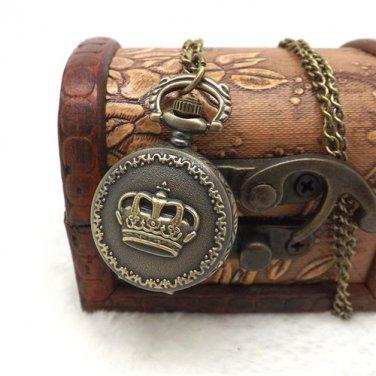 Antique Bronze Vintage Crown Quartz Pocket Watch Pendant Necklace Chain New