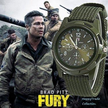 Solider Military Army Sport Style Canvas Belt Luminous Quartz Wrist Watch