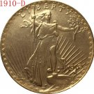 American Coin Treasures $20 Saint Gaudens Gold Piece 1910-D Replica coin